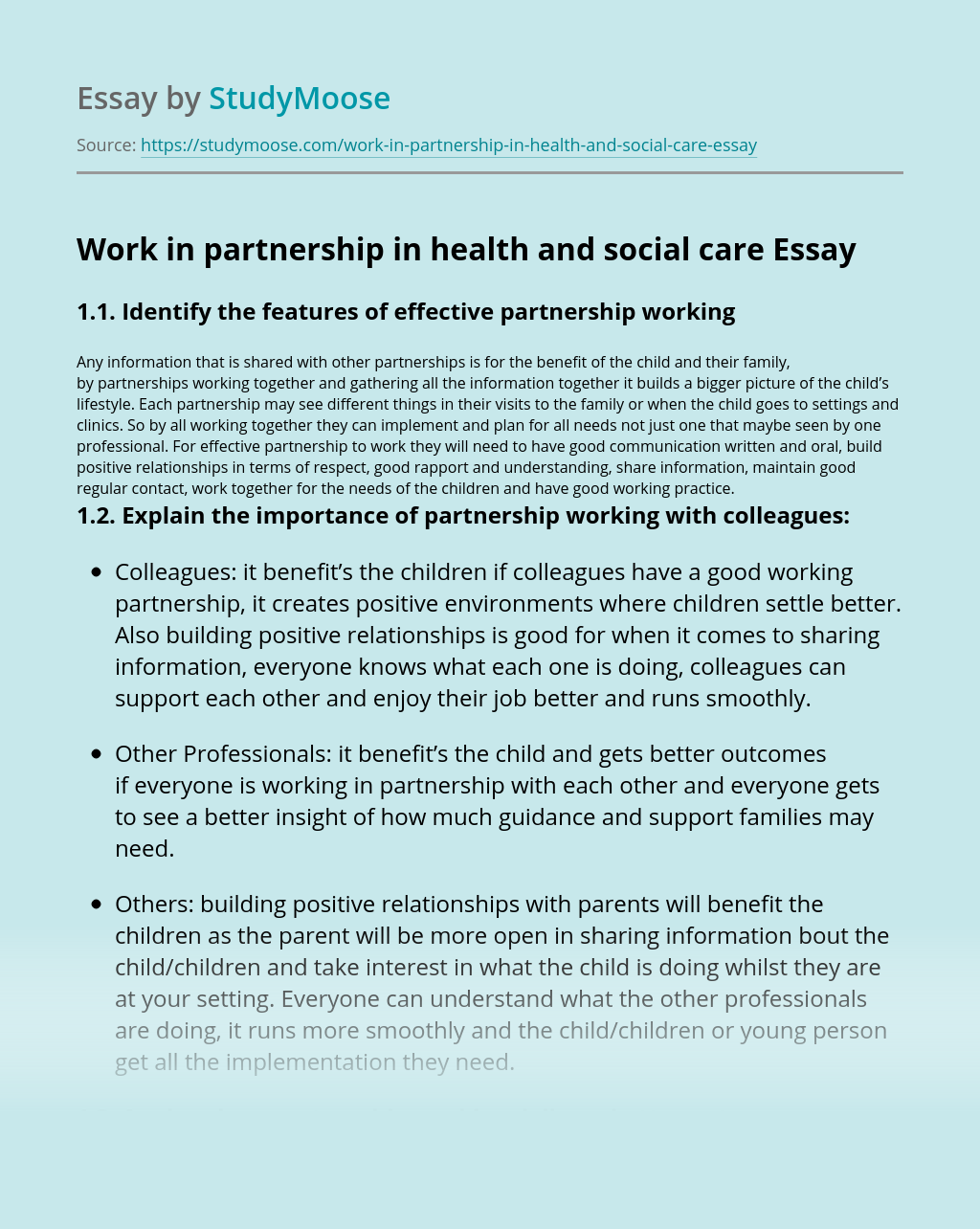 Work in partnership in health and social care