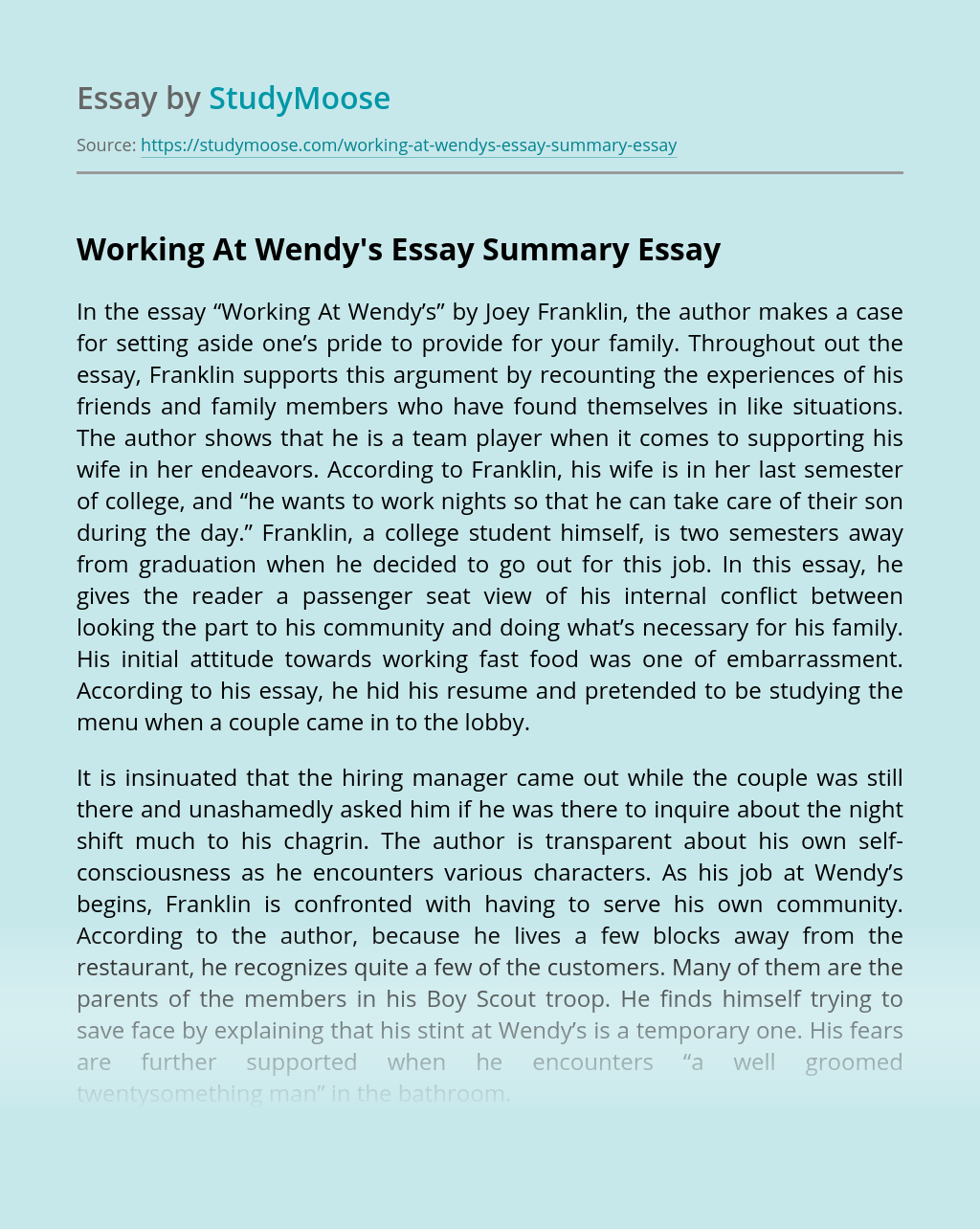 Working At Wendy's Essay Summary