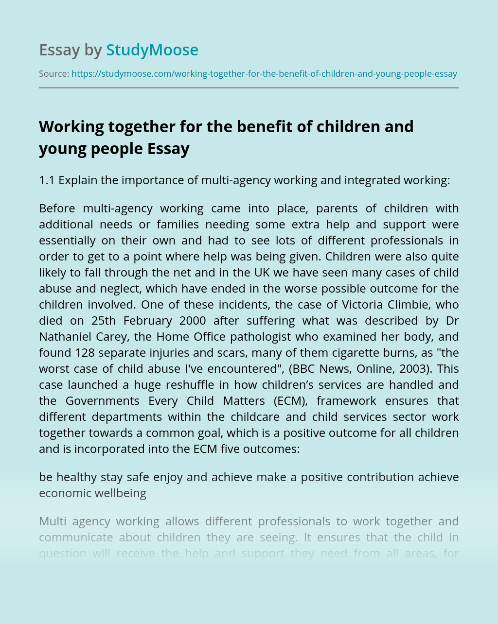 Working together for the benefit of children and young people