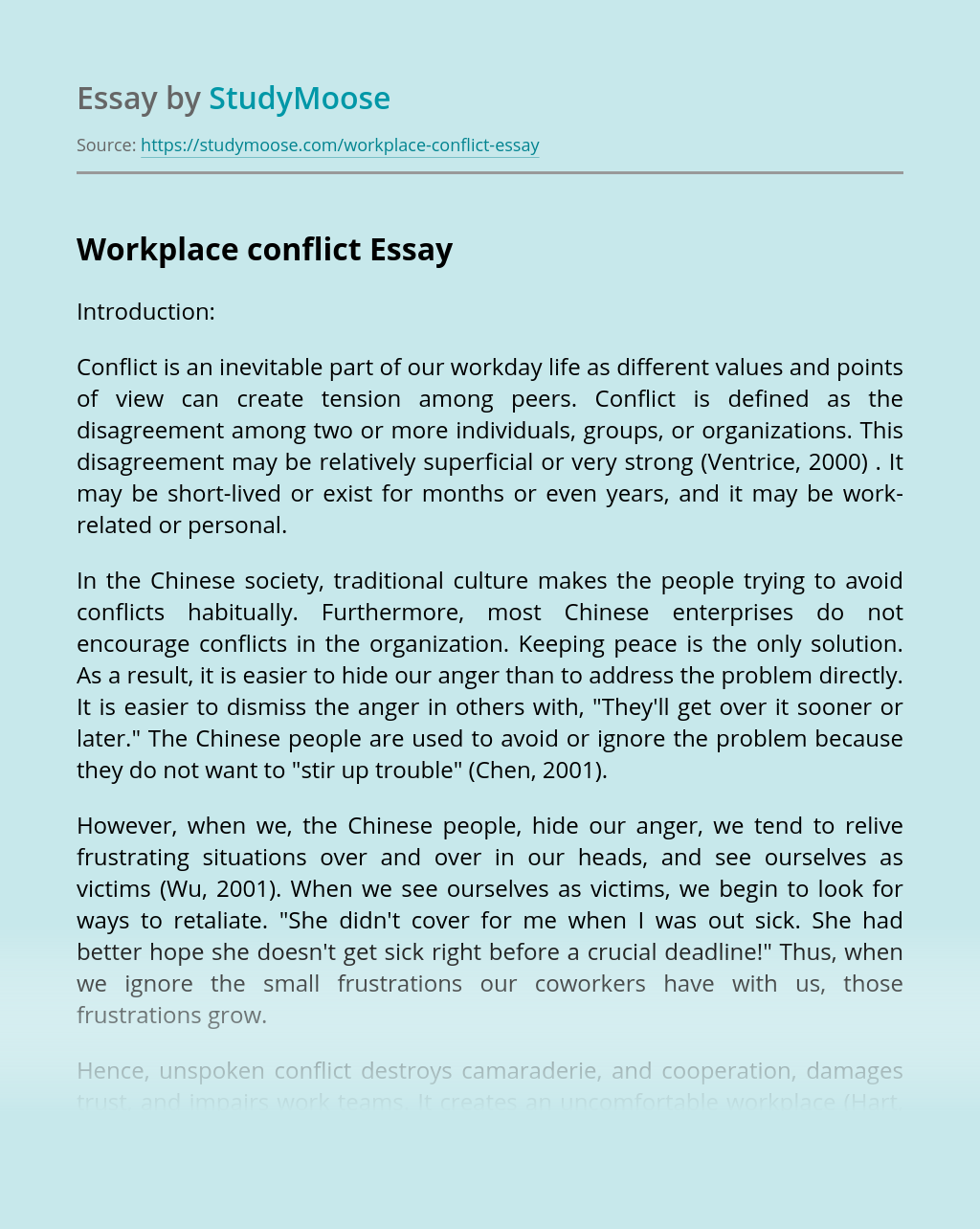 Essay on managing conflict in the workplace ib biology extended essay topics