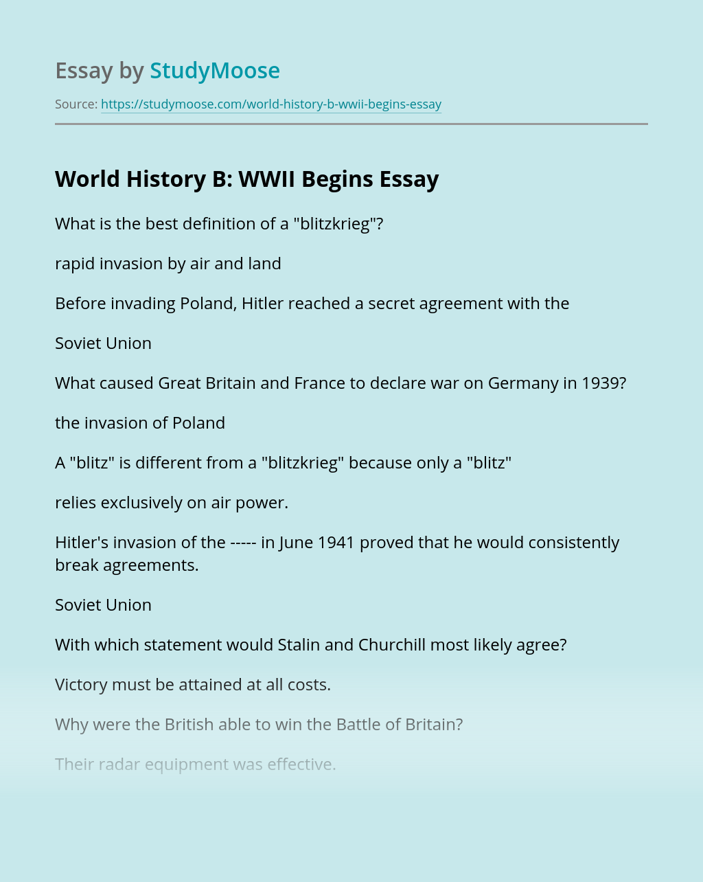 World History B: WWII Begins