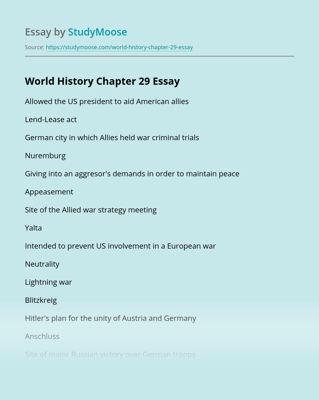 World History Chapter 29