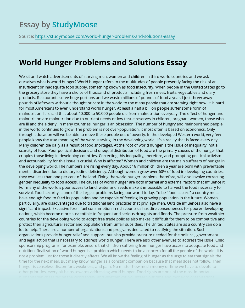 World Hunger Problems and Solutions