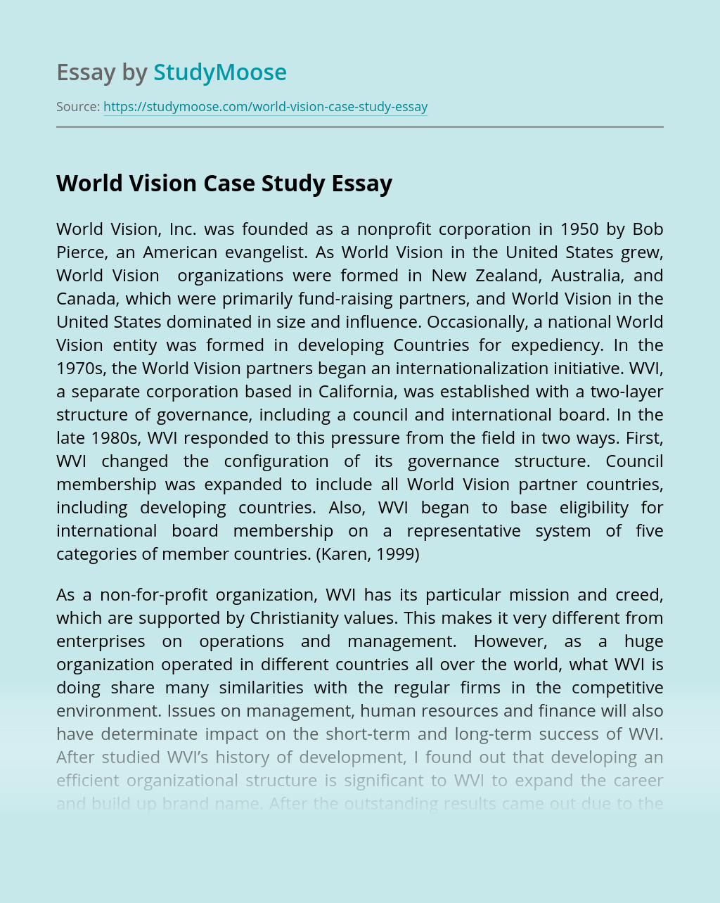 World Vision Case Study