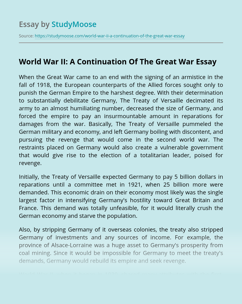 World War II: A Continuation Of The Great War