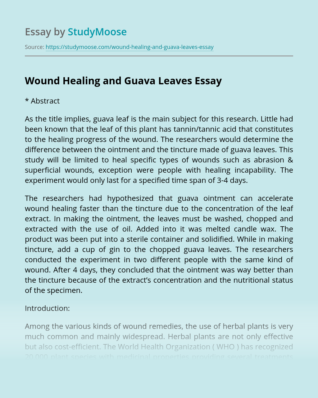 Wound Healing and Guava Leaves