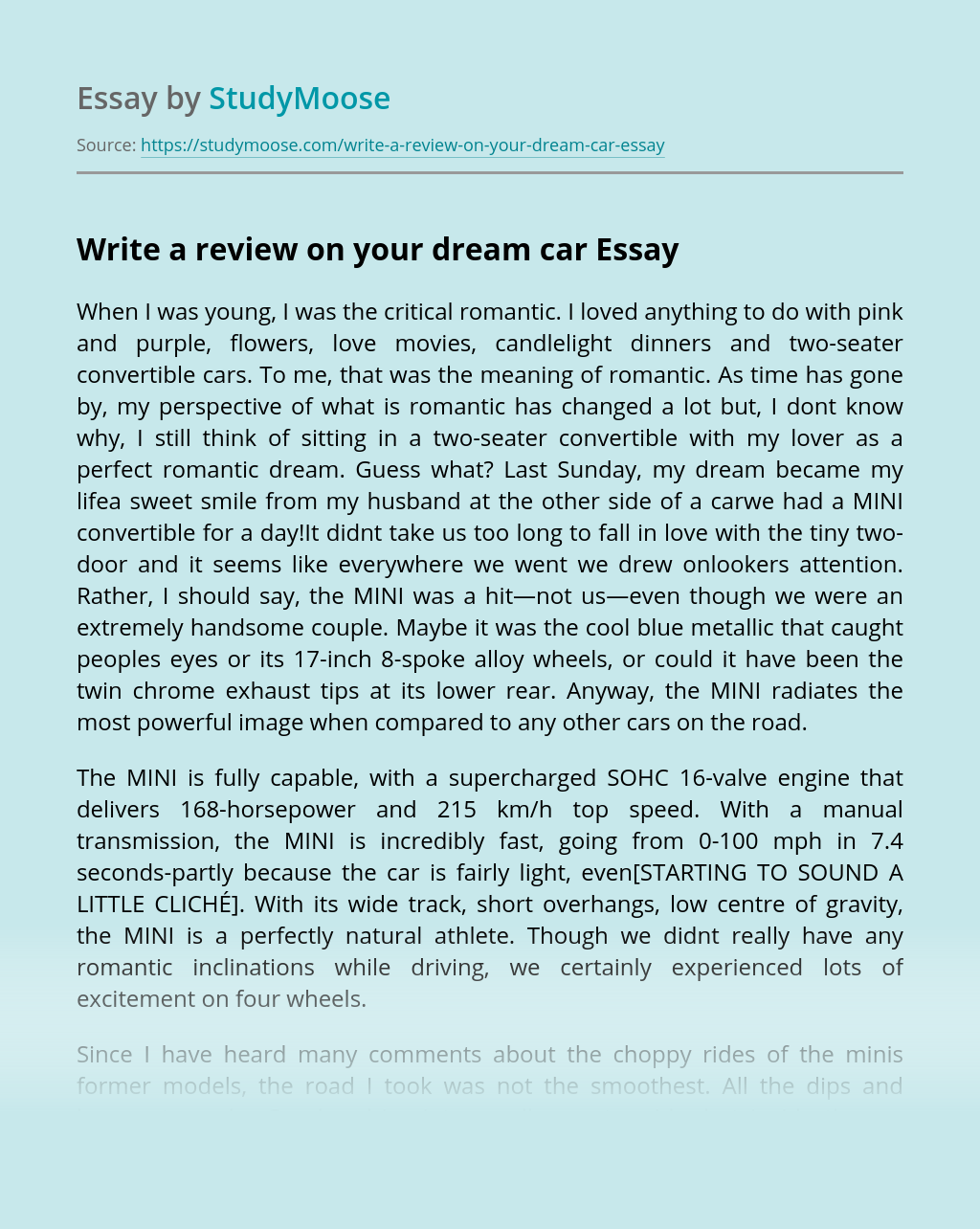 Write a review on your dream car