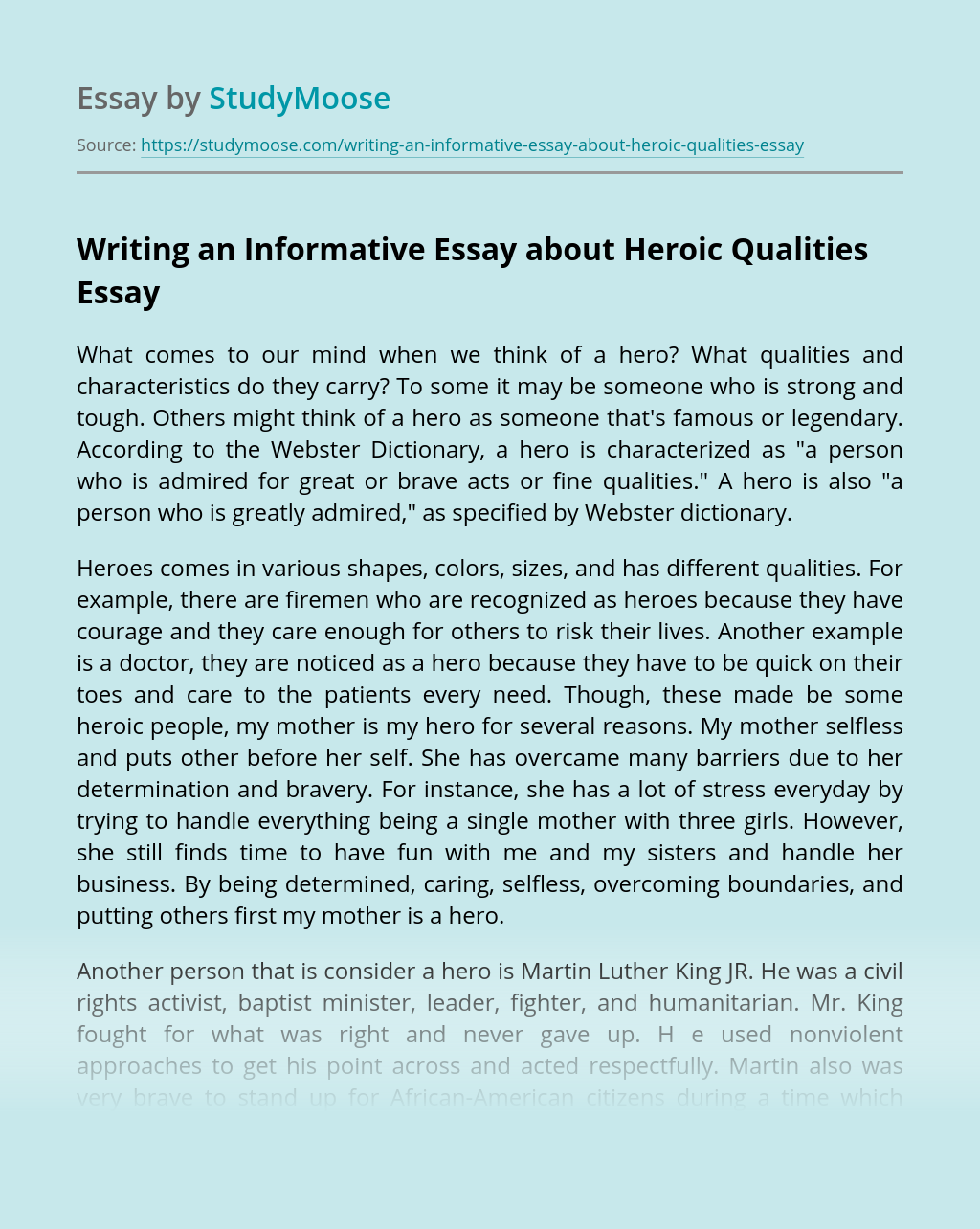 Writing an Informative Essay about Heroic Qualities
