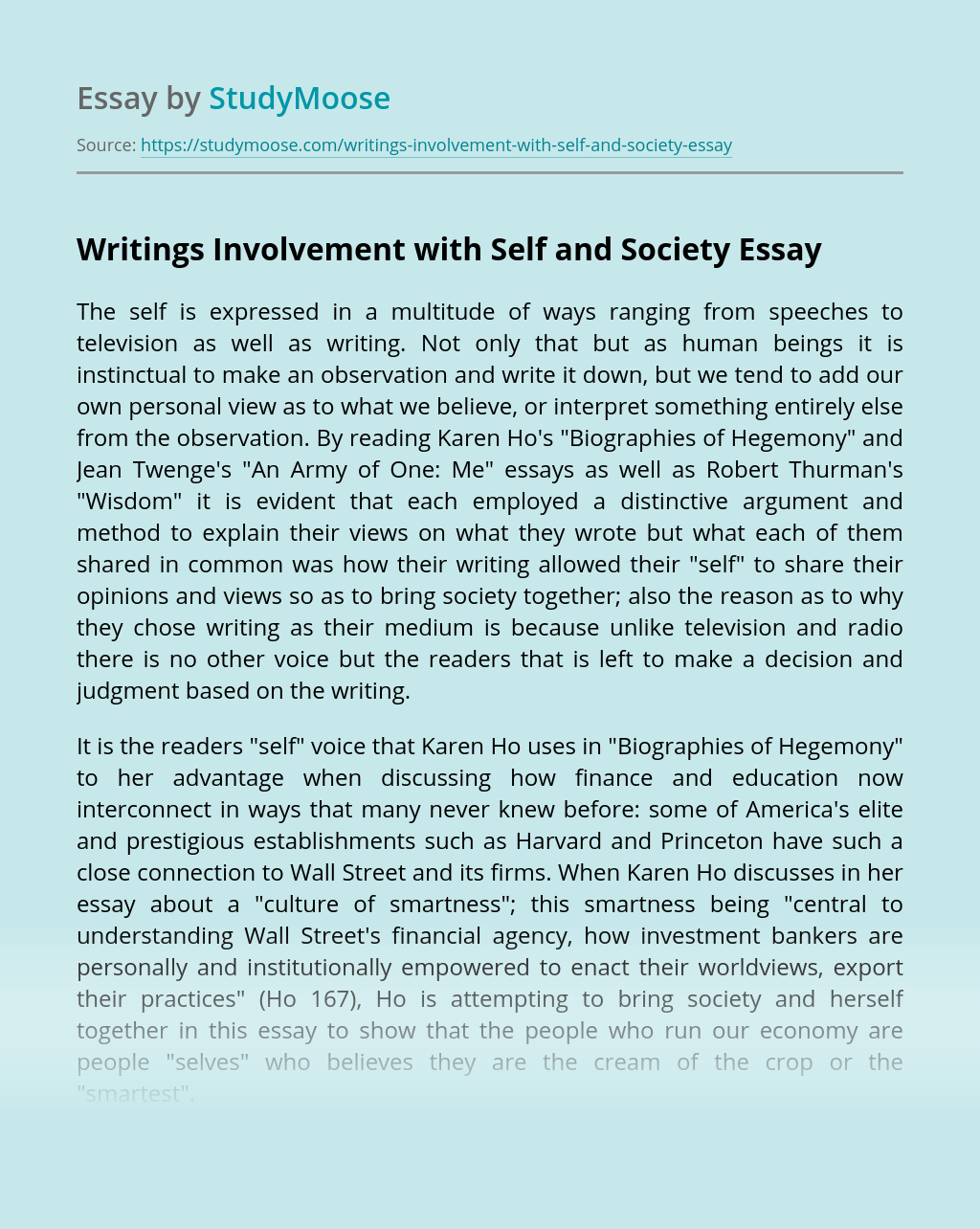 Writings Involvement with Self and Society