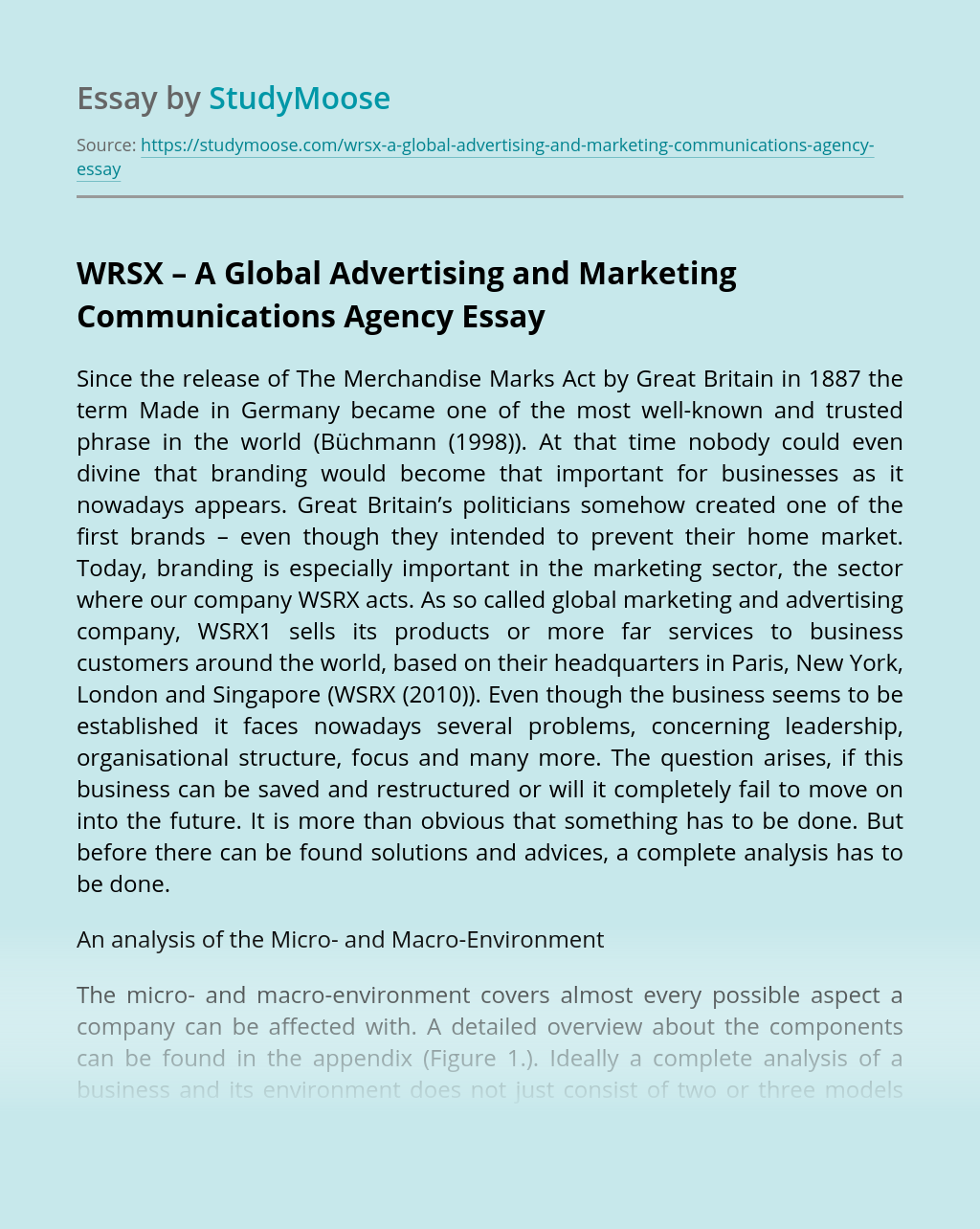WRSX – A Global Advertising and Marketing Communications Agency
