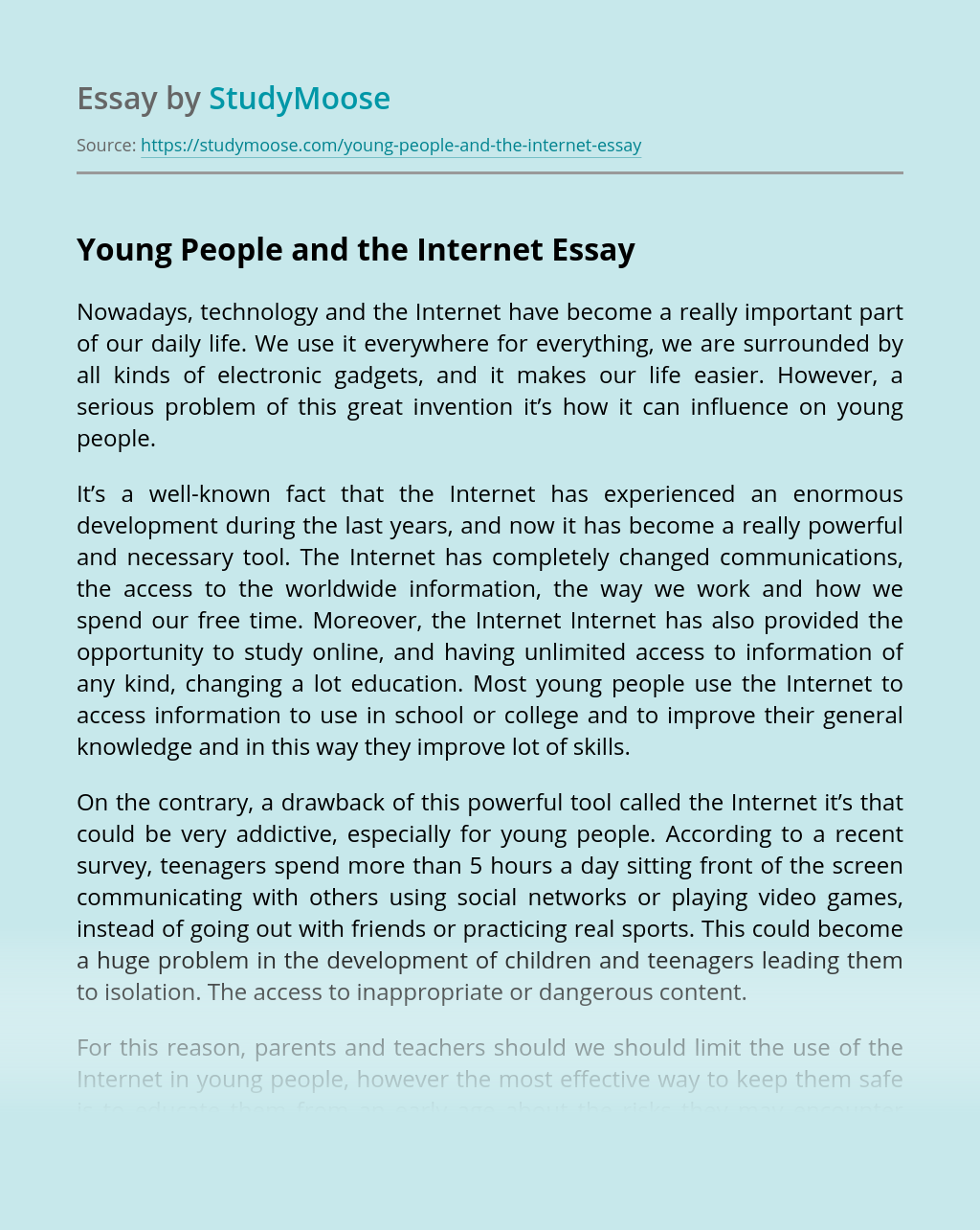 Young People and the Internet