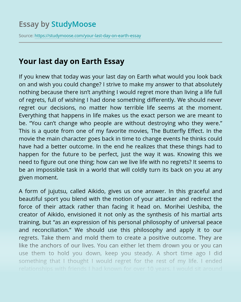 Your last day on Earth