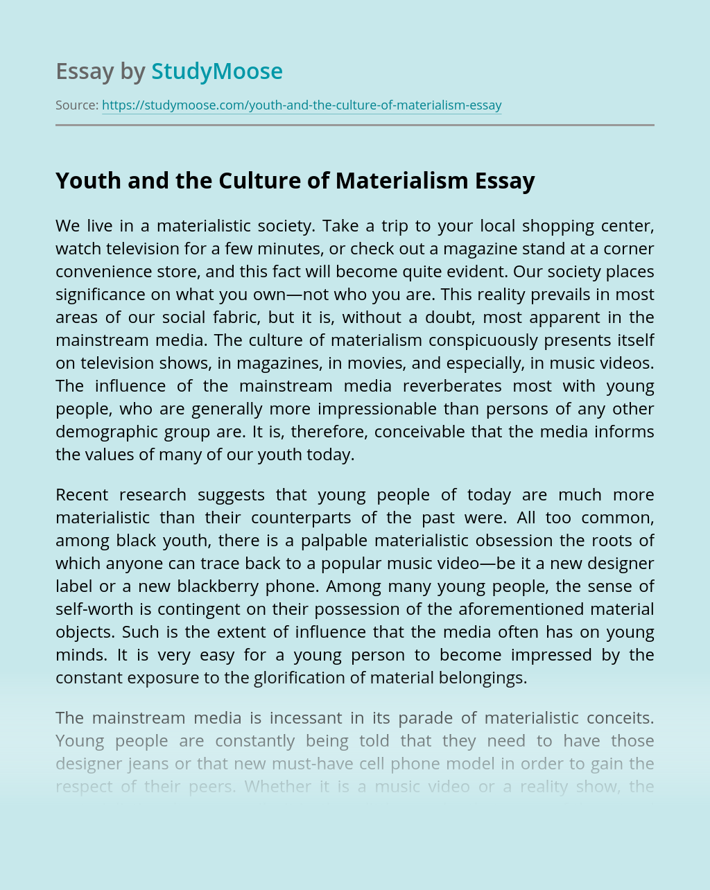 Youth and the Culture of Materialism