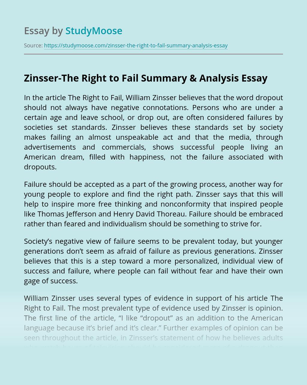 Zinsser-The Right to Fail Summary & Analysis