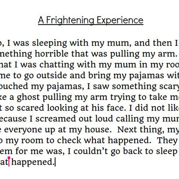 A Frightening Experience Essay Examples