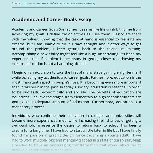 Academic And Career Goals Essay Examples