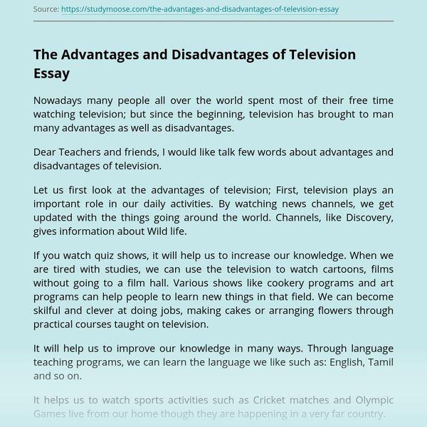 Advantage And Disadvantage Of Tv Essay Examples