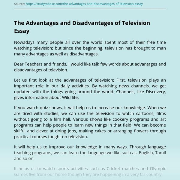 Advantages And Disadvantages Of Television Essay Examples