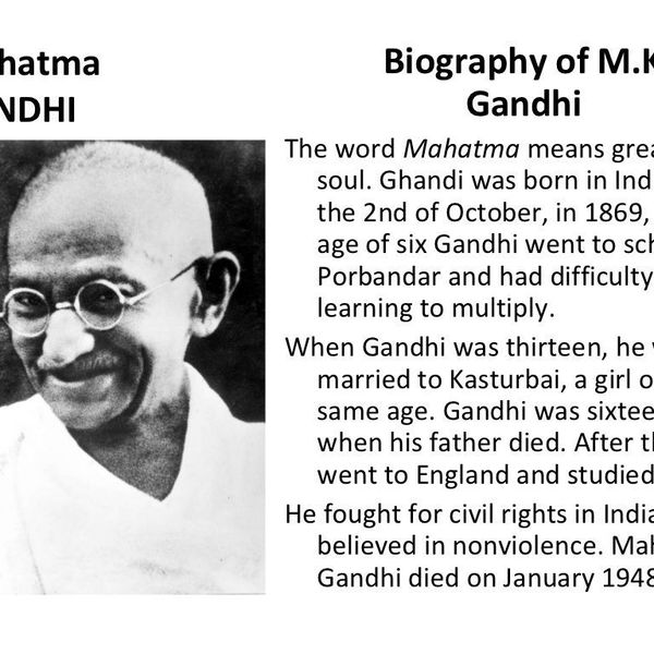 Biography Of Mahatma Gandhi Essay Examples