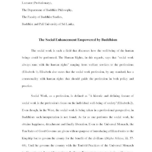 Buddhism And Social Work Essay Examples
