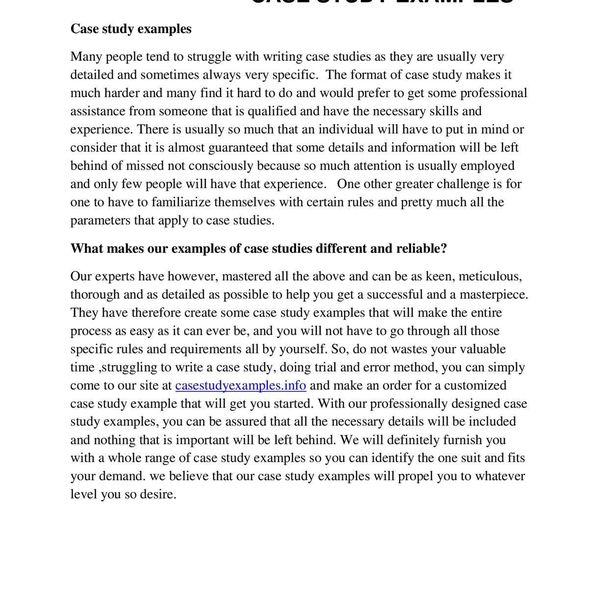 Case Study Examples Essay Examples