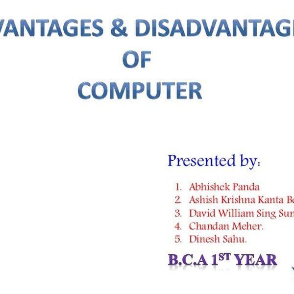 Computer Advantages Essay Examples