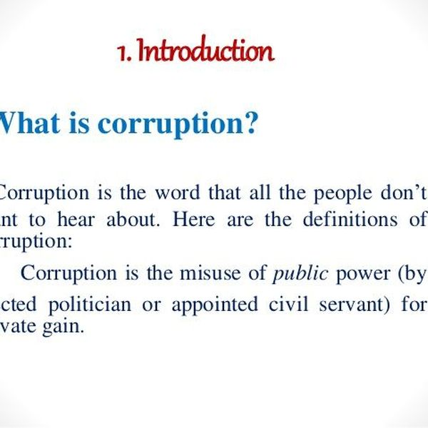 Corruption In Simple Words Essay Examples
