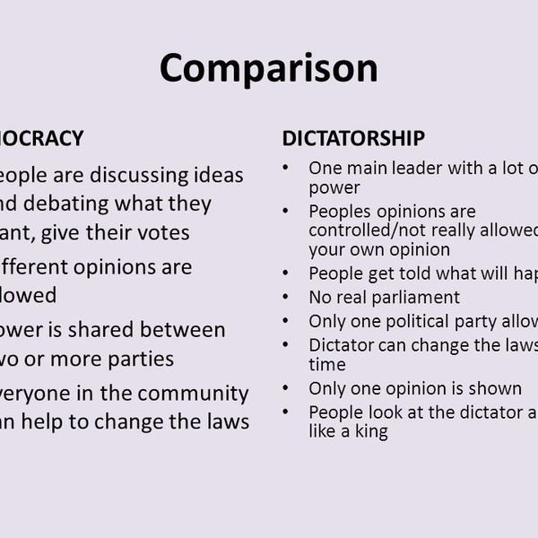 Democracy And Dictatorship Essay Examples