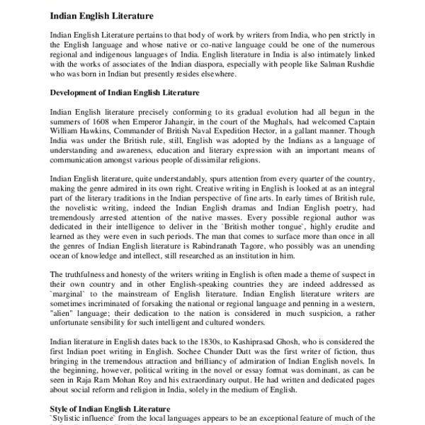 Development Of Indian English Literature Essay Examples