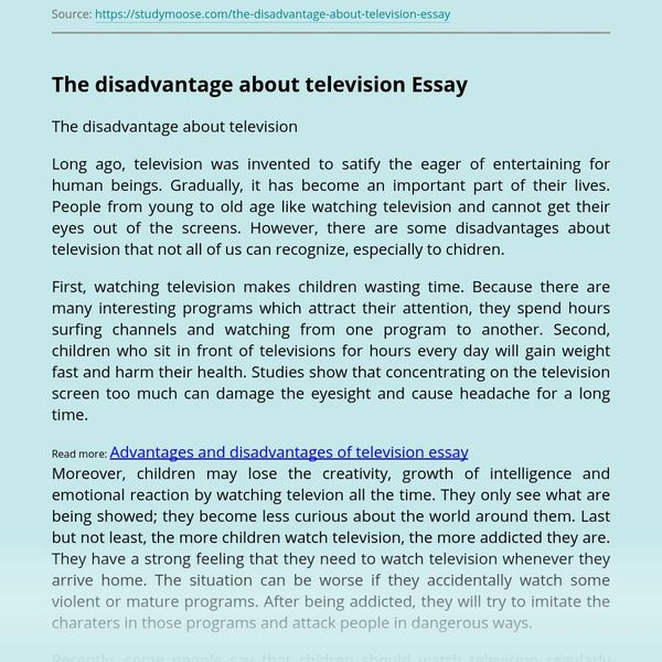 Disadvantages Of Television Essay Examples