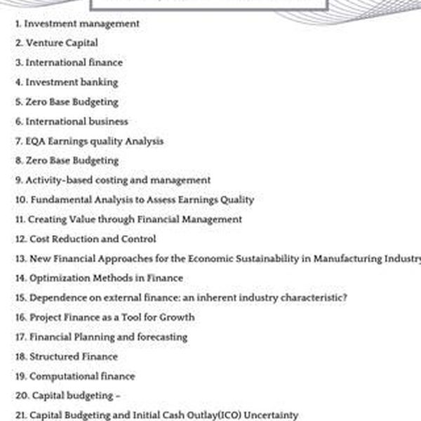 Finance Topics Essay Examples