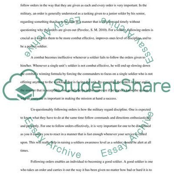 Following Instructions In The Army Essay Examples