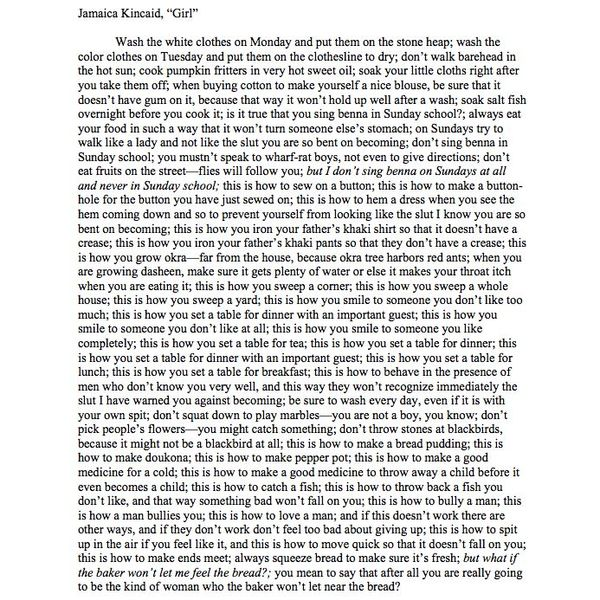 Girl By Jamaica Essay Examples