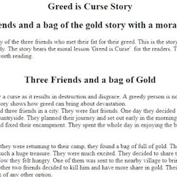 Greed Is Curse Essay Examples