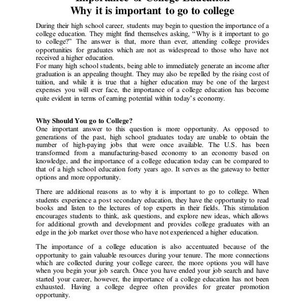 Importance Of College Education Essay Examples