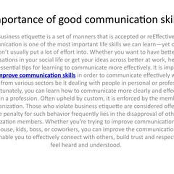 Importance Of Good Communication Skills Essay Examples