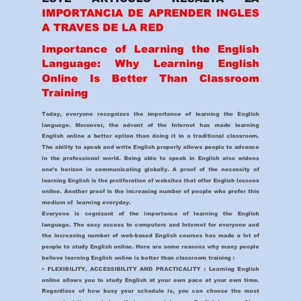 Importance Of Learning English Language Essay Examples