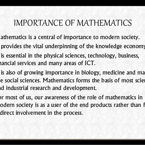 Importance Of Mathematics Essay Examples