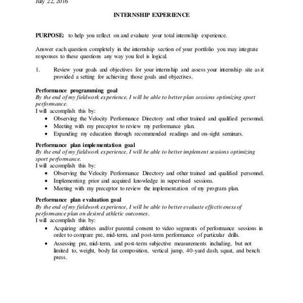 Internship Experience Essay Examples