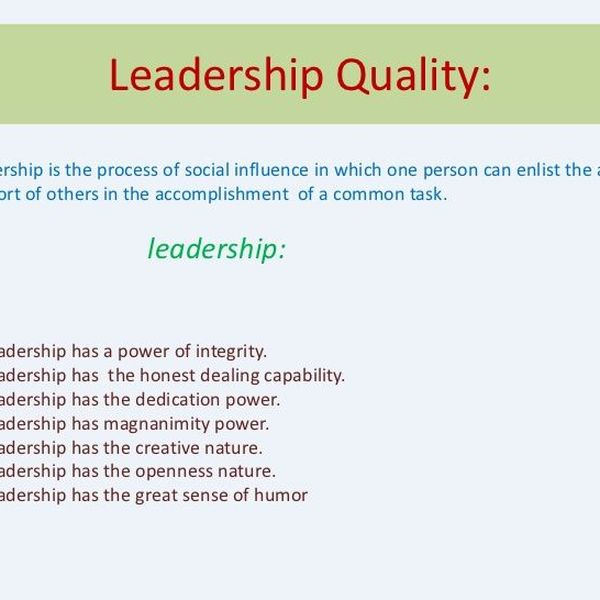 Leadership Quality Essay Examples