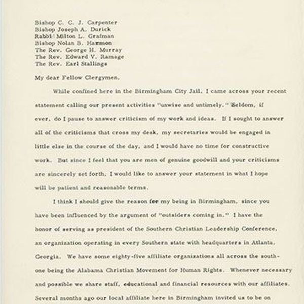 Letter From Birmingham Jail Essay Examples