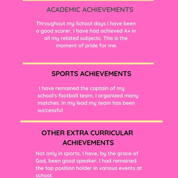 My Achievements Essay Examples