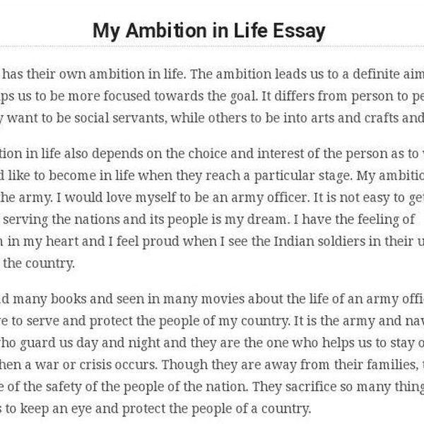 My Ambition In Life Essay Examples