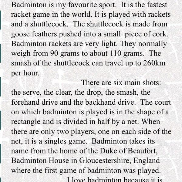 My Favorite Game Badminton Essay Examples