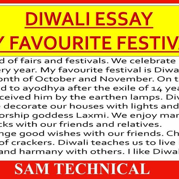 My Favourite Festival Diwali Essay Examples