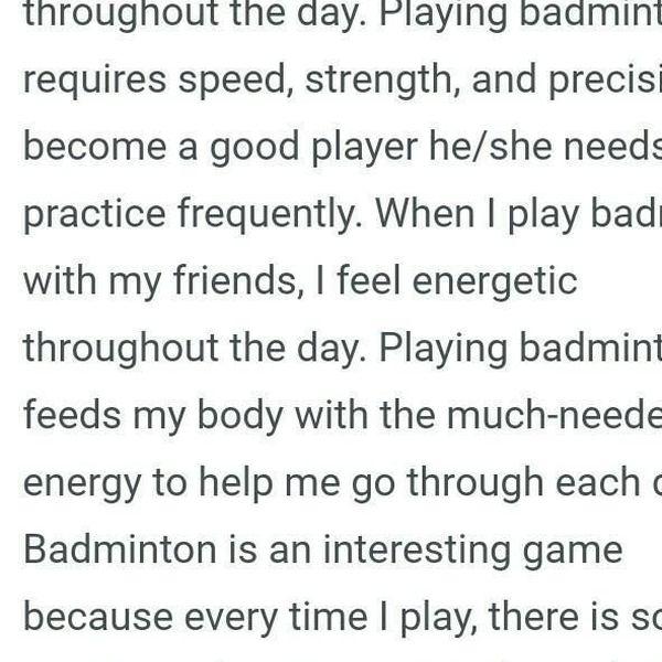 My Favourite Sports Badminton Essay Examples