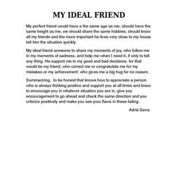 My Ideal Friend Essay Examples