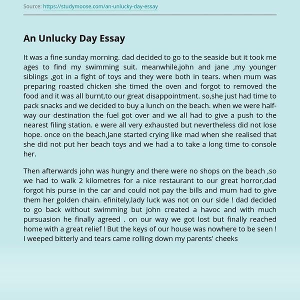 My Unlucky Day Essay Examples