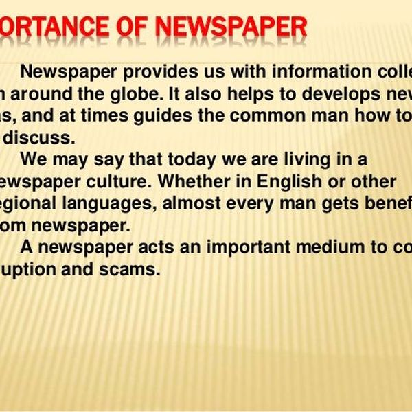 Newspaper Importance Essay Examples