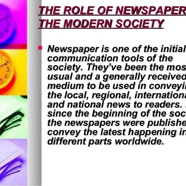 Role Of Newspaper Essay Examples
